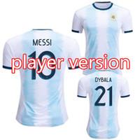 argentinien zuhause messi jersey großhandel-Spieler-Version Argentinien Heimtrikot 2019 2020 Gold Cup MESSI AGUERO DYBALA HIGUAIN ICARDI DI MARIA Fußballshirt camiseta