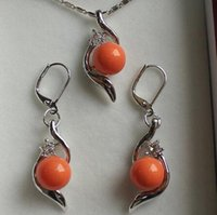 laranja pérola jóias conjuntos venda por atacado-Lovely Women Wedding Jewelry jogo perfeito belo conjunto de jóias 10mm orange shell pearl pendant earring