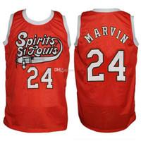 camisetas de baloncesto cosidas a medida al por mayor-# 24 Marvin Barnes Spirit of St. Louis Retro Basketball Jersey Hombre cosido Número personalizado Jerseys nombre