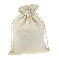 bolsa hecha a mano al por mayor-Bolsos de lazo de embalaje de regalo hecho a mano de muselina de algodón del grano de café joyería de la boda bolsa de almacenamiento favores rústica popular de la Navidad