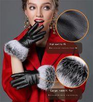 guantes de piel de conejo negro al por mayor-Moda-Mujeres de las nuevas señoras de piel de conejo de la PU guantes de cuero negro caliente guantes de invierno completa de Palm Touch Screen G037 guante de terciopelo