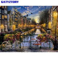 Wholesale vintage paint number painting for sale - Group buy GATYZTORY Frameless City DIY Painting By Numbers Landscape Vintage Wall Painting Acrylic Paint On Canvas For Living Room x50cm