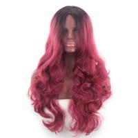 красные черные парики аниме оптовых-Мода новый женский черный градиент красное вино длинные вьющиеся волосы большая волна аниме косплей парик комплект jooyoo