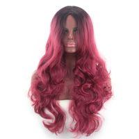 ingrosso anime cosplay lunghi capelli rossi-Moda New Donna Nero Gradiente Vino Rosso Lungo capelli ricci Big Wave Anime Cosplay Parrucca Set jooyoo