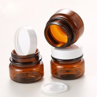 Wholesale amber pot resale online - 50g Amber Brown Plastic Cream Jar Refillable Travel Makeup Containers Empty Cosmetic Pot for Skin Care