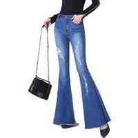 mulheres joker calças venda por atacado-Primavera e No Outono Nova Moda das Mulheres Magro Fina Denim Flare Calças Buracos Joker Confortável Jeans de Cintura Alta JQ839