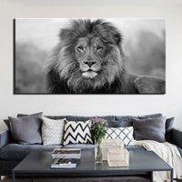 aslan odası dekor toptan satış-Tuval Pictures Wall Art Çerçeve Dekor 1 adet Siyah Ve Salon HD Baskılar Poster Çerçeve Yok İçin White Lion Boyama