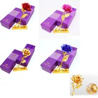 24k rosen großhandel-24 Karat Goldfolie Überzogene Rosen Geschenke Hochzeitsdekoration Für Immer Liebhaber Valentinstag Handgefertigte Geschenke Künstliche Blume mit Verpackung Box