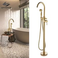 Wholesale gold faucet luxury for sale - Group buy Luxury Gold Floor Mounted Tub Sink Faucet Single Handle Bathroom Bath Shower Set Free Standing Bathtub Mixer Tap with Handshower