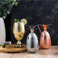 ingrosso tumblers di rame-Bicchiere da ananas Moscow Mule Mugs da 500ml Boccale da birra in rame Tazza in acciaio inox Bicchiere da cocktail Bicchiere da vino Utensile da bar