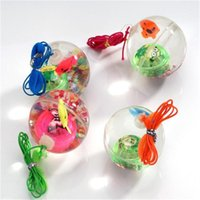 Wholesale flashing ball rope resale online - 5 Cm Flash Ball Kids Luminous Bouncy Ball With Rope Jumping Ball Flashing Children S Toys Parties Toy Led Light Birthday Gift mNWiK
