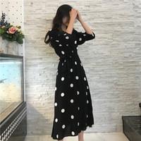 yazlık elbiseler kore bayanlar toptan satış-SuperAen Yaz Kadın Elbise Kore Stil Moda V yaka Bayan Uzun Elbise Günlük Yarım Kol Dot Elbise Kadın Ücretsiz Kargo