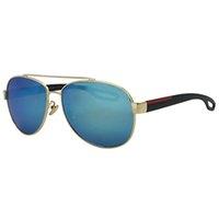 lunettes bleu doré achat en gros de-KUPNEPO Mens De Luxe De La Mode Polarisé Marque Designer Lunettes De Soleil 6-550 Lunettes D'or Cadre Bleu Objectif Livraison Rapide Livraison Gratuite PRA30