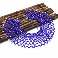 joyería de acrílico enlace al por mayor-Increíble bohemio exótico africano azul negro cuentas de acrílico borlas enlace cadenas collar de gargantilla Maxi Collares Collier India joyería