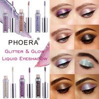 göz farı pigmentini oluştur toptan satış-PHOERA Glitter Göz Farı Sıvı Glitter Glow Makyaj Uzun Ömürlü Pırıltılı 16 renkler Ton Kozmetik Pigment Göz Farı Maquiagem 72 adet