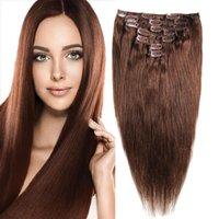 sarışın tam kafa saç uzantıları toptan satış-Tam Kafa Brezilyalı Makine Yapımı Remy Saç 70G # 4 Sarışın İnsan Saç Uzantıları 14inch-20inch Doğal Düz Klip