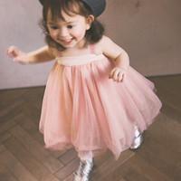 hilo tutu al por mayor-Ropa para bebés y niñas Verano Niño Niño Niñas Hilo de red sin respaldo doble Princesa Tutu Vestido Ropa para fiesta de boda Vestido Infantil