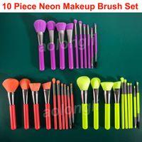 Wholesale eye shadow concealer resale online - Docolor Makeup Brushes Set Neon Kabuki Brush Eye shadow Lip brushes Face Blender Foundation Powder Concealer Cosmetic Make Up Brushes