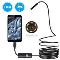 endoscopio endoscopio led al por mayor-7MM del endoscopio de la cámara USB Mini 0.5-10M impermeable suave serpiente cable de inspección de tubos boroscopio cámaras para Android de Loptop PC portátil de 6 LED
