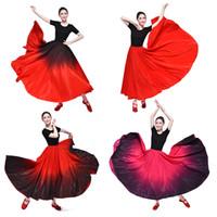 vestidos de saias tradicionais venda por atacado-Vermelho Preto Espanhol Grande Hemline Flmenco Saia Dança Do Ventre Espanha Tradicional Salão De Baile Desgaste Do Estágio Desempenho Mulher Oriental Vestido