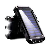 mobil şarj cihazları için ambalaj toptan satış-Xiaomi iPhone MI için 20000mAh Güneş Enerjisi Bankası Su geçirmez Taşınabilir Yedekleme Powerbank Cep Telefonu Şarj Harici Akü