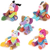 Wholesale cute stuffed monkey plush resale online - Bear Monkey Stuffed Toy Deer Elephant Plush Doll Baby Children Appease Toys With Sound Cute Colorful bs D1