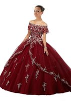 Wholesale t back shorts for sale - Burgundy Quinceanera Dresses Long Cheap Ball Gown Prom Dress Sweet Gowns Lace Vestidos anos