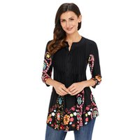 Wholesale floral womens clothing for sale - Group buy 2019 Women Printed T Shirt Flower Long Womens New Arrival Shirts Crew Neck Causal Seven quarter Sleeve Tees Summer Spring Women Clothing