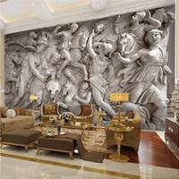 faux holz tapete großhandel-Benutzerdefinierte 3D Fototapete Europäischen Retro Römischen Statuen Kunst Wandbild Restaurant Wohnzimmer Sofa Kulissen Tapeten Wandbild 3D