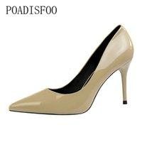 cuero de raíz al por mayor-Vestido Poadisfoo Mujer Sexy Super High Heels 9cm.fine Root, Punta estrecha, Cuero de charol para mujeres profesionales Heels.psds-1785-6