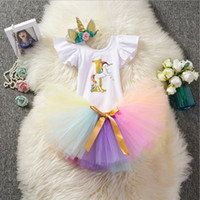 Wholesale baby girl tutu birthday outfit for sale - Group buy Unicorn One Baby infants Birthday clothes Outfits Flutter sleeve Onesies Colorful Tulle tutu Skirts Unicorn Headband set Hotsale