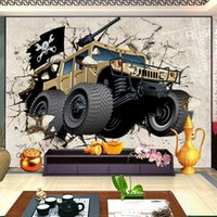 Wholesale wall art cartoon paintings for bedroom for sale - Group buy Custom Mural Wallpaper Cartoon Car Broken Wall D Creative Art Wall Painting Living Room TV Backdrop Wallpaper For Kids Room