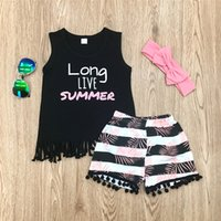 Wholesale girls clothing online - 3pcs Baby Set Summer Infant Baby Girl Clothes Set Vest Top Floral Shorts With Headband Baby Girl Outfit M