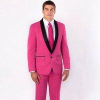 esmoquin rosa fuerte novio al por mayor-Hot Pink Groom Tuxedos Fumar Chaqueta Trajes de hombre para bodas Trajes de hombre Blazers 2Piece (Abrigo + Pantalones) Negro Shawl Lapel Slim Fit Terno masculino