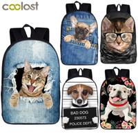 Wholesale girls cat school bags resale online - Cute Puppy Dog Kitten Cat Backpack Women Men Causal Rucksack Student School Bags For Teenager Girls Boys Daypack Kids BagpackMX190903