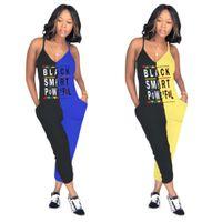 siyah rompers uzun pantolon toptan satış-Kadınlar siyah akıllı mektup tulum iki renkli dikiş spagetti kayışı kolsuz v yaka tayt seksi uzun tulum pantolon S-3XL satış B2152