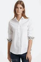 algodón puro largo al por mayor-Para mujer 2019 Ropa de diseño de lujo Moda casual Para mujer Camisas de diseñador Color puro Algodón de manga larga Camisas de solapa Negro Blanco