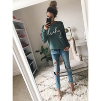 Wholesale Women Hoodies LUCKLY Letter Print O Neck Long Sleeve Casual Sweatshirts Spring Hoody Fashion Women Pullovers Female