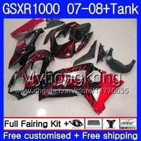 tanques suzuki al por mayor-7Gifts + Tank para SUZUKI GSXR-1000 K7 GSX-R1000 GSXR 1000 07 08 Llamas rojas stock 301HM.6 GSXR1000 07 08 Carrocería GSX R1000 2007 2008 Carenados