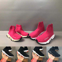 Wholesale children sneaker flower for sale - Group buy 2020 Kids Fashion Ankle Boots Speed Stretch Mesh Designer Running Shoes Speed Knit Sock Mid Top Sneakers Speed Trainer children baby sneaker