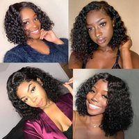 Wholesale short brazilian curly human hair wig resale online - Brazilian Human Hair Wigs Bob Wigs Kinky Curly Short Wig Peruvian Hair Fashion Deep Wave Curly Human Hair Lace Front Wigs