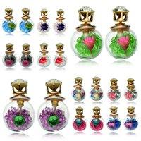 ingrosso doppio orecchini quadrati-Orecchini bottiglia di vetro Vetro quadrato dotato di colori vivaci Crystal Ball Zircon Dry Flower Vetro Double Face orecchino femminile 170839