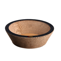 бесплатные кошки кровати оптовых-Round Bowl-Cat Scratcher Fat Cat Bed Round 40cm diameter Cardboard Paper High Quality Cat Toy Scratching Pad Free Shipping