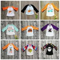 kinder tupfen großhandel-Halloween scherzt T-Shirts Tupfen-Rüsche übersteigt den Druck-Kürbis-Baumwollt-stücke der Kinder Baby-Kleidungs-lange Hülsen-Hemden GGA2641