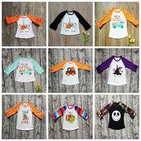 ingrosso magliette a maniche lunghe per bambini-T-shirt per bambini Halloween Top a pois con volant Stampa per bambini T-shirt in cotone con zucca T-shirt Abbigliamento bambino Camicie a maniche lunghe GGA2641
