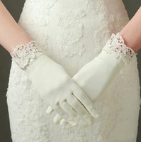 Wholesale wedding dress accessories wrist for sale - Group buy Gorgeous full finger wedding bride wedding dress gloves wrist length matte satin short gloves wedding accessories in stock
