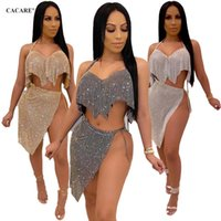 Wholesale gold s hook for sale - Group buy Shinny Women Clothing Sets with Skirt Piece Skirt Set Sequined Two Piece Dress Outfits for Women for Club Party Choices F0475