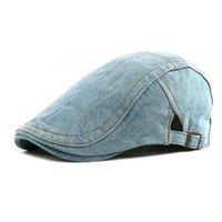 chapeau de béret homme bleu achat en gros de-10 pcs Élégant Demin Casquettes Plates pour Printemps Automne Classique Femmes Lavé Coton Beret Chapeaux De Mode Hommes Blue Jean Casquette En Gros