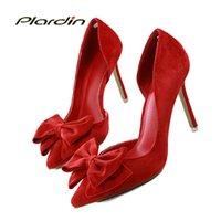 kelebek yüksek topuk ayakkabıları toptan satış-Plardin Kadın Tatlı Papyon Sivri Burun Moda Kadınlar Partisi Düğün Bayanlar Ayakkabı Kelebek-düğüm Yan Hollow Kadınlar Yüksek Topuk ayakkabı