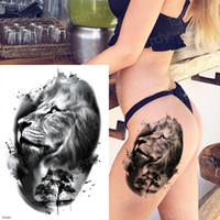 Wholesale waterproof animal stickers for sale - Group buy 10pcs Long Lasting Temporary Tattoos Animals Lion Head Tattoo Stickers Body Art Waterproof Tattoo Fake Forest Black Thigh Tatoo Leg